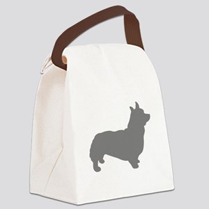 corgi gray 3 Canvas Lunch Bag