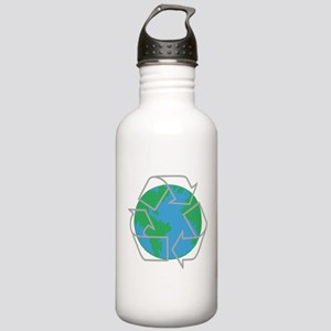 earth with recycle symbol Water Bottle