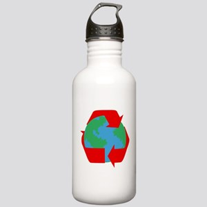 earth with red recycle symbol Water Bottle