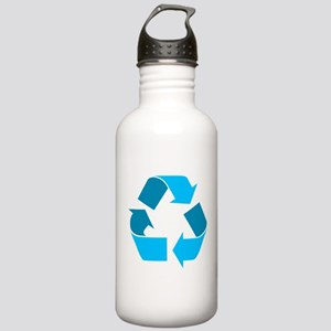 teal recycle symbol Water Bottle