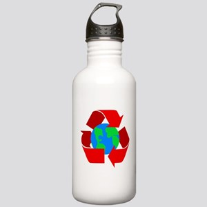 red recycle symbol around the earth Water Bott