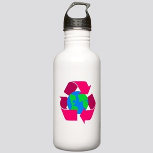 pink recycle symbol around the earth Water Bot
