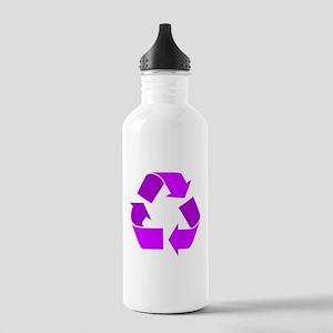 purple recycle symbol Water Bottle