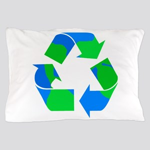 recycle symbol made of the earth Pillow Case