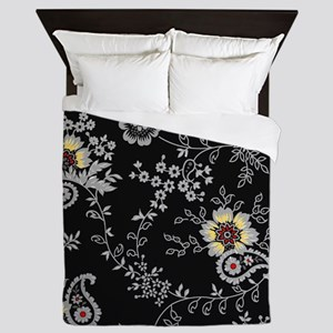 Black flower Queen Duvet