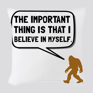 Bigfoot Believe In Myself Woven Throw Pillow