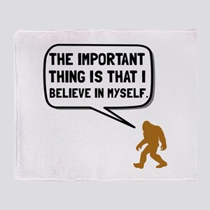 Bigfoot Believe In Myself Throw Blanket
