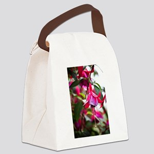 Pink Fuchsia Flower Canvas Lunch Bag