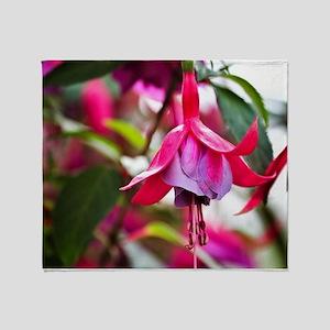 Pink Fuchsia Flower Throw Blanket