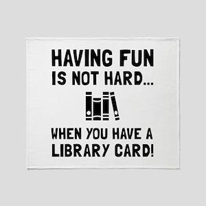 Library Card Fun Throw Blanket