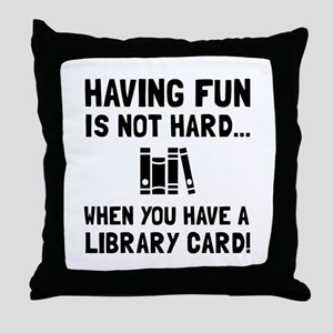 Library Card Fun Throw Pillow