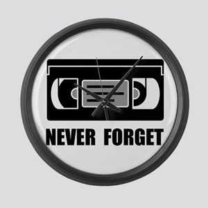 VCR Tape Never Forget Large Wall Clock