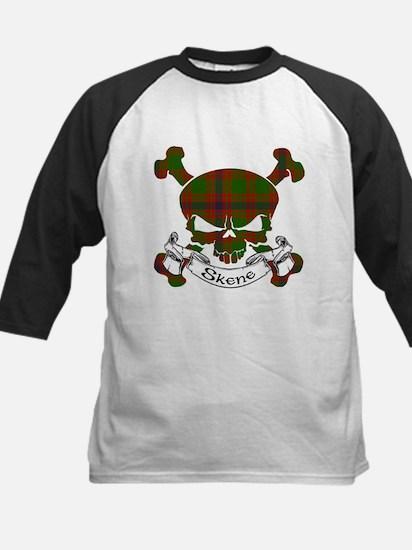 Skene Tartan Skull Kids Baseball Jersey