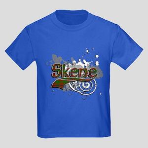 Skene Tartan Grunge Kids Dark T-Shirt