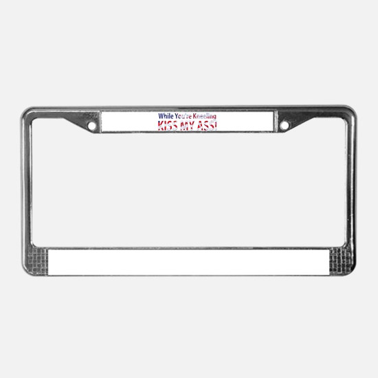 While You're Kneeling License Plate Frame
