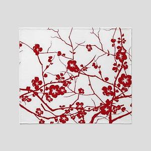 modern zen red plum flower floral pr Throw Blanket