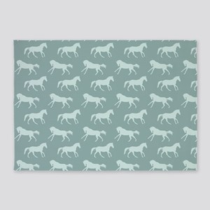 Blue Galloping Horse Pattern 5'x7'Area Rug