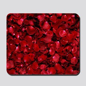 modern romantic red rose petals Mousepad