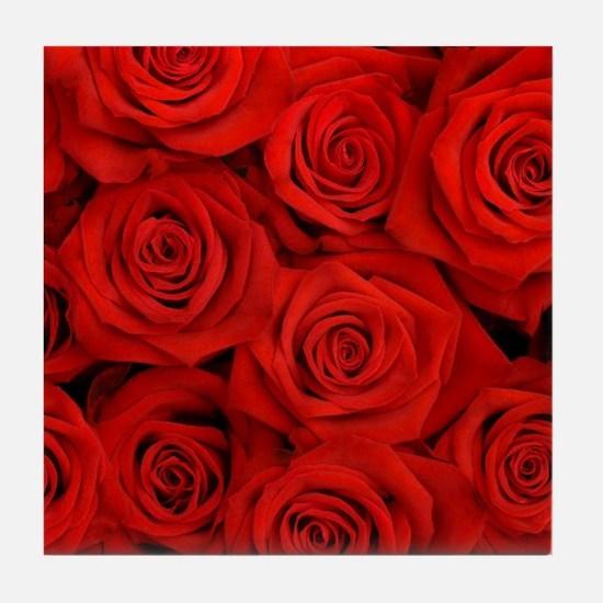 modern romantic red rose petals Tile Coaster