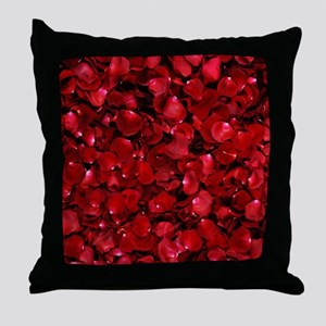 modern romantic red rose petals Throw Pillow