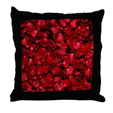 Modern Romantic Red Rose Petals Throw Pillow