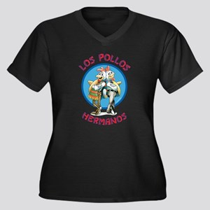Los Pollos H Women's Plus Size V-Neck Dark T-Shirt