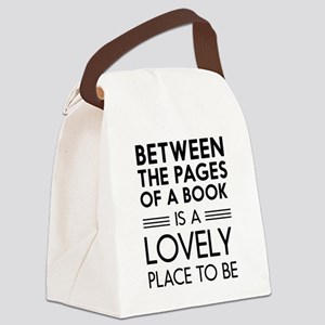 Between pages of book Canvas Lunch Bag