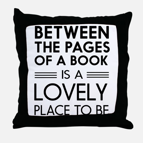 Between pages of book Throw Pillow