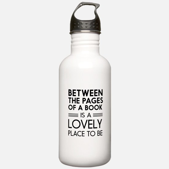 Between pages of book Water Bottle