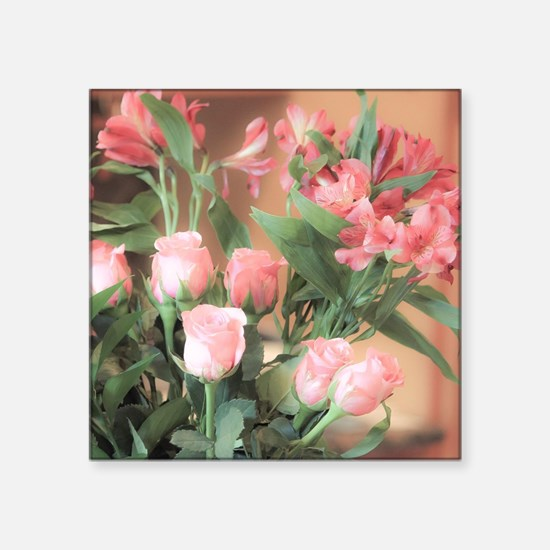 "Rose Bouquet 2 Square Sticker 3"" x 3"""