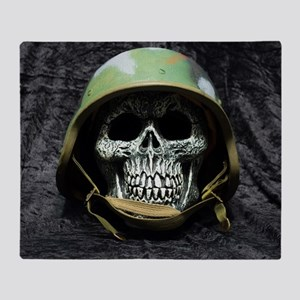 Army skull Throw Blanket