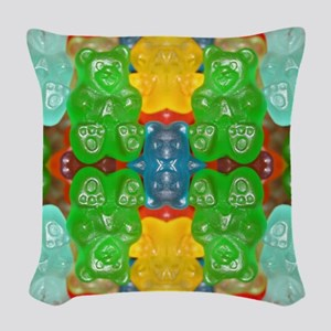 cute candy colorful modern tre Woven Throw Pillow