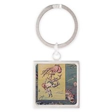 Mermaid and Octopus Square Keychain