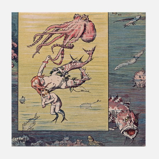 Mermaid and Octopus Tile Coaster