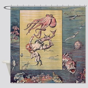 Mermaid and Octopus Shower Curtain