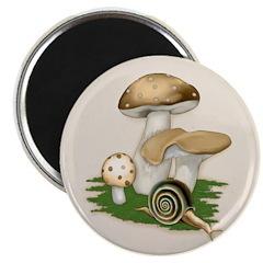 Snail in Mushroom Garden Magnet