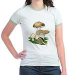 Snail in Mushroom Garden Jr. Ringer T-Shirt