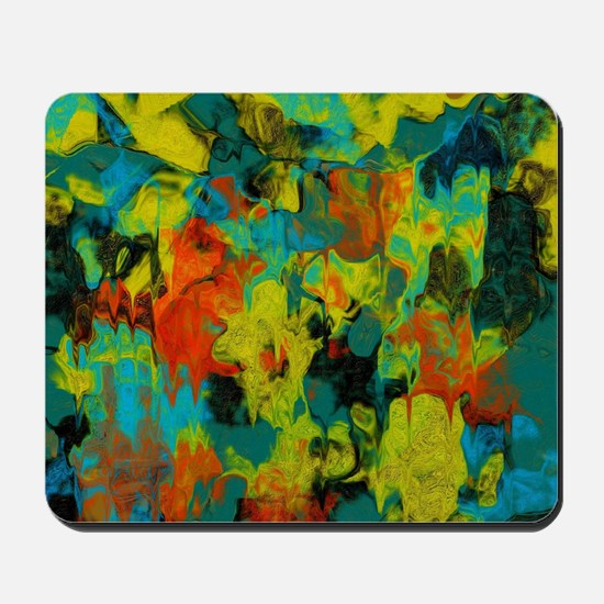 Blue and Gold Abstract with Orange Mousepad