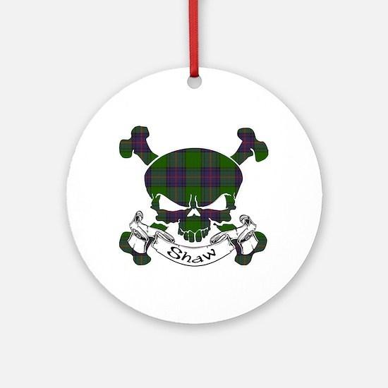 Shaw Tartan Skull Ornament (Round)