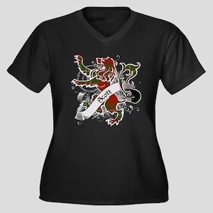 Scott Tartan Women's Plus Size V-Neck Dark T-Shirt