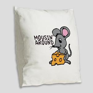 Mousin Around Burlap Throw Pillow