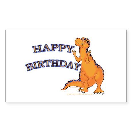 Happy Birthday Dino Rectangle Sticker