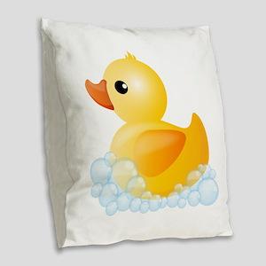 Rubber Duck Burlap Throw Pillow