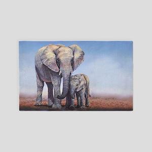 Elephants Mom Baby 3'x5' Area Rug