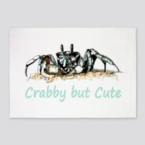 Crabby but Cute Fun Quote with Crab 5'x7'Area Rug