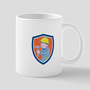 Carpenter Builder Hammer Shield Cartoon Mugs