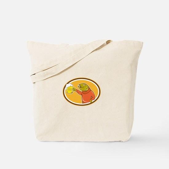 Trout Fish Holding Beer Mug Oval Cartoon Tote Bag