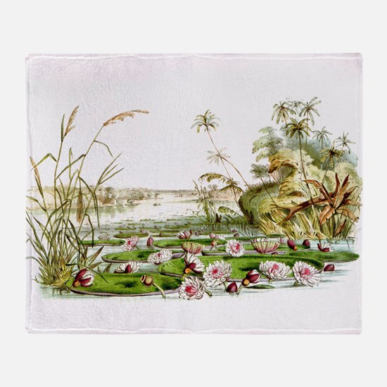 Waterlilies & Lilypads Throw Blanket