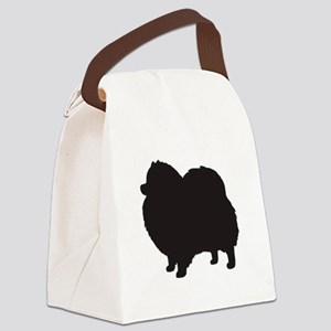 pomeranian black 3 Canvas Lunch Bag
