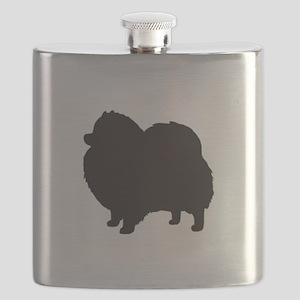 pomeranian black 3 Flask